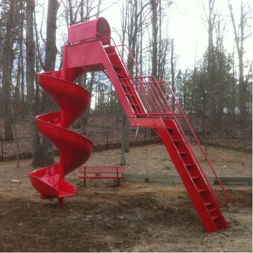 L1015 Spiral Aluminum Slide 12 Foot Platform Freestanding
